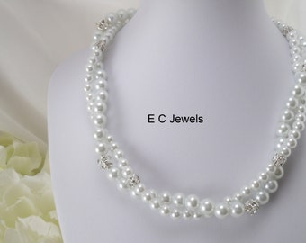 Twisted Pearl and Rhinestone Bridal Necklace
