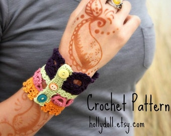 "Crochet pattern- ""plethora"" antique lace cuff bracelet"