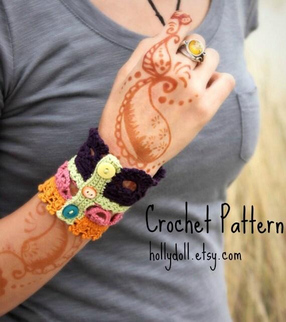 """Crochet pattern- """"plethora"""" antique lace cuff bracelet"""