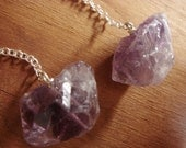 Long Raw Amethyst Earrings