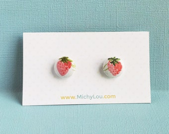Strawberry print fabric earrings 100% cotton print fabric covered button