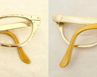 Hammered Stars Cat Eye Glasses Frame in Aluminum Golden Chrome Metal Vintage 50s 60s Metallic Eyeglass Sunglasses Frame ROckabilly CatsEyes