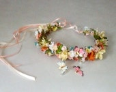 wedding floral headpiece Butterfly flower crown Bridal hair wreath accessories spring peach yellow teal mix colors halo