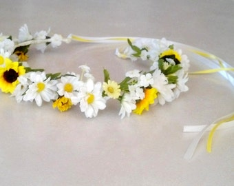 Daisy Flower girl halo yellow white Wedding Bridal party hair Accessories floral crown wreath mini sunflowers garland Australia spring Bride
