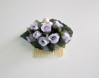 Lavender Rose Hair Comb, Woodland Wedding, Festival Accessory