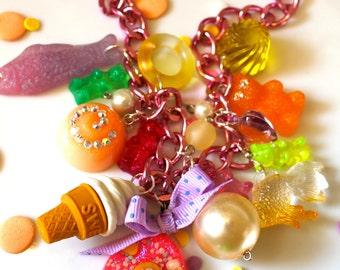 Pastel Kawaii Candy Charm Necklace - Gummy Bear Jewelry - Candy Jewelry - Mini Food Jewelry- Cameo Jewelry - Plastic Jewelry - Resin Jewelry