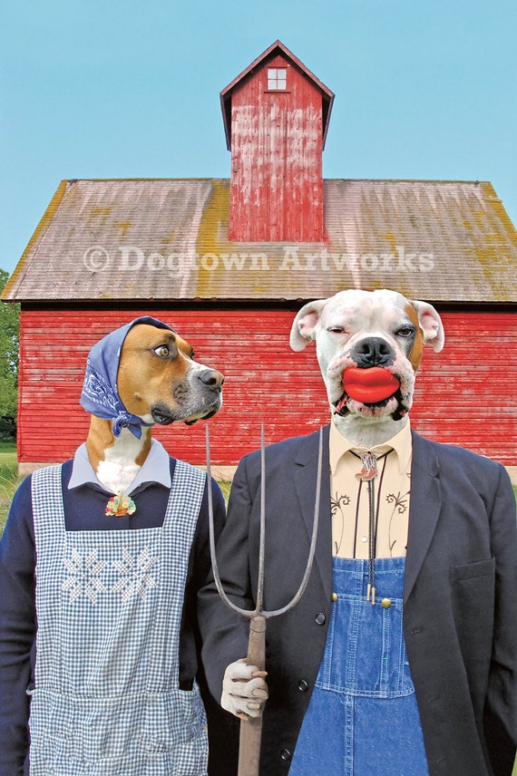 Dog Gothic, large original photograph, boxer dogs in clothes spoof of American Gothic