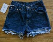 Vintage Levi's Cut Off Shorts / Dark Denim Jean Shorts / size 1 / 24 inch waist