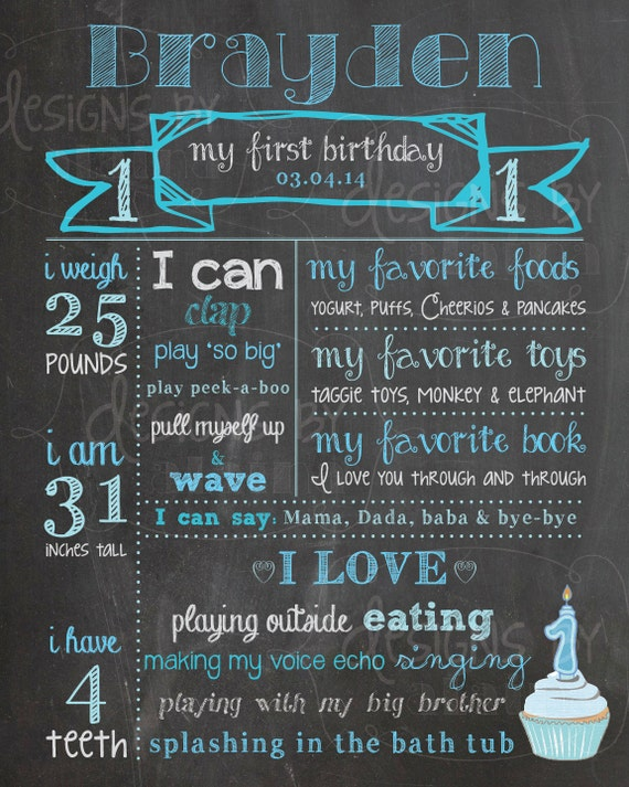 1st Birthday Chalkboard Poster Sign for a Boy by ...