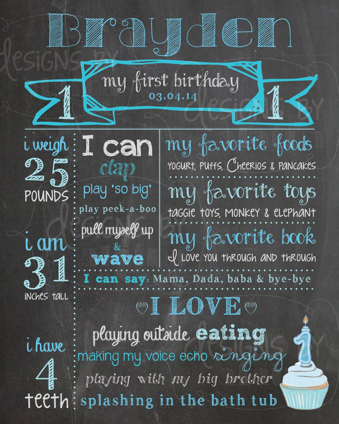 Birthday Date Poster: 1st Birthday Chalkboard Poster Sign For A Boy By
