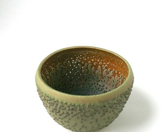Green Handmade Vessel - Pierced Stoneware Art - Rustic Green Candle Holder - Textured Clay Bowl- Contemporary Ceramics - OOAK Pottery -