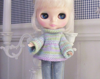 Pastel Varigated Hand Knitted Sweater for Blythe or Momoko Dolls