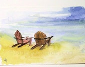 Relax Beach Chairs Watercolor Nature Art Illustration Landscape Ocean Original Painting