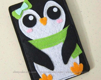 Custom Size Felt Penguin iPhone Case, Cell Phone Sleeve, Felt Phone case, Handmade cell phone purse, Penguin case, iPhone 7 case