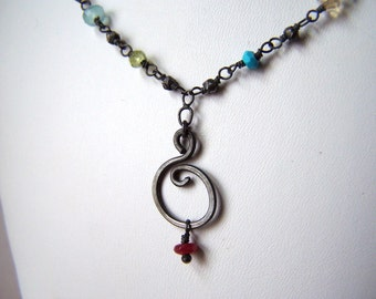 custom birthstone necklace in sterling silver with semi precious stones and grandmother pendant