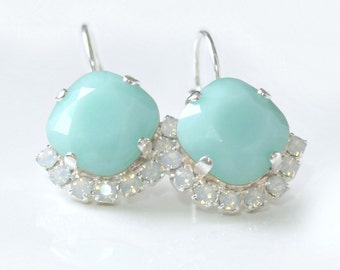 Faceted Mint Swarovski Crystals Partially Framed with Pave' Opal Crystals on Silver Leverback Earrings