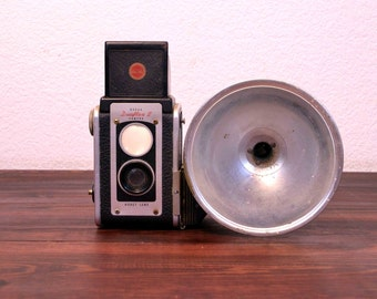 Vintage Kodak Duaflex II Camera with Flash Unit  / Retro Reflex Camera