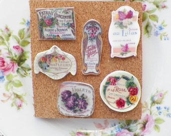 Beautiful Vintage Perfume Label Images Thumbtacks / Push Pins--Set 1