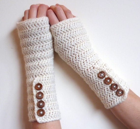 Hobo Gloves Knitting Pattern : Items similar to Fingerless Gloves, knit hobo gloves, FREE SHIPPING, cream wo...