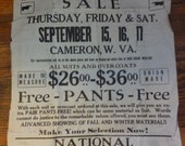 1930s Advertising Poster, FREE PANTS, National Woolen Mills