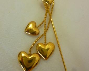 Vintage Dangling Hearts Stickpin