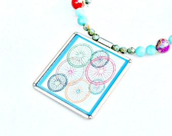 Bicycle Necklace Amazonite Jasper Spring in Paris Romantic Wheels Whimsical French Flare Pastel Love Shabby Chic Choker Wrap by Mei Faith