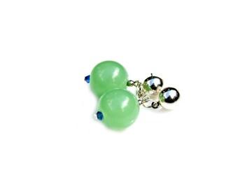 Apple Green Earrings Petite Dangle Earrings Artisan Beaded Post Earrings Capri Blue Crystals Traditional Classic Minimalist Style Mei Faith