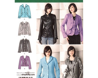 Fitted Jacket Pattern Simplicity 2313 Collar Ruffle Front Jacket Detail Variations Womens Sewing Pattern Size 6 to 14 UNCUT