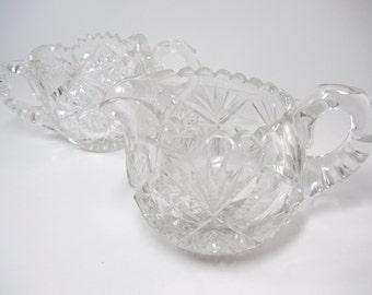 Brilliant cut glass sugar jar and creamer set / heavy cut glass / starburst design / American brilliant cut glass  Libbey / Mother