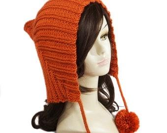 Orange Elf Pixie Hat - Adult Elf Hat - Pixie Hood