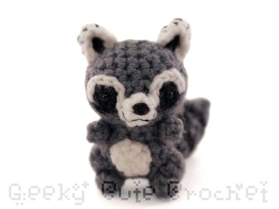 Amigurumi To Go Raccoon : Raccoon Amigurumi Crocheted Plush Toy Kawaii Coon Animal