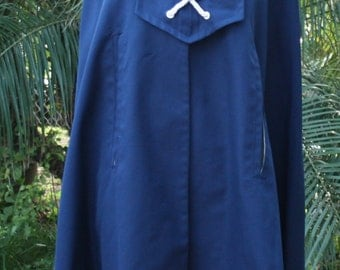 1970s Vintage Cape - Navy Blue Nautical Style Cape - Poncho - Spring Cape - Retro Sailor Style - Canvas Cloth - One Size Fits Most