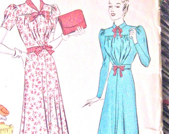 1930s Pictorial Review Printed Pattern 9664 Dress 30s Vintage Sewing Dress Pattern Bust 34 inches