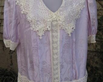 LARGER FLAPPER dress, 1980s dress Downtown Abbey SILK dress pastel Purple lilac lavender Size 12 dropwaist / drop waist Plus Size dress