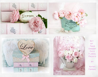 Shabby Chic Flower Photography, Aqua Pink Peonies Roses, Baby Girl Nursery Decor, Dreamy Pink Aqua Girls Room Decor, Romantic Bedroom Photos