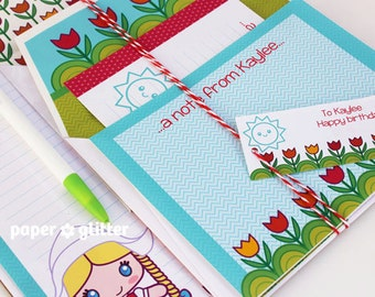 Printable Cute Kawaii Dutch Girl Stationery Gift Set - Editable Text PDF