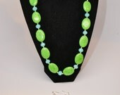 Lime Green Howlite and Blue Faceted Crystal Statement Necklace & Earring Set