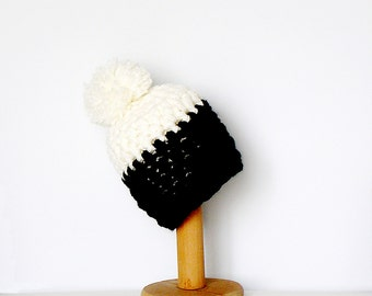 Pom Pom Beanie Color Block Hat Black and White Chunky Women's Beanie