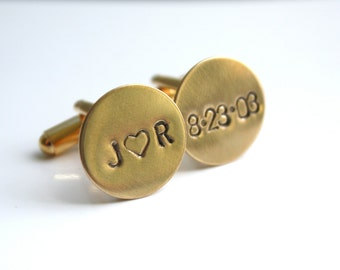 Personalized Gold Cuff Links Cufflinks- Custom Initials and Date for Groom or Groomsmen Dad or Grandfather - Celebrate Today Cuff Links