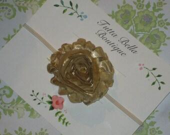 Shiny Gold Flower Headband, Gold Baby Headband, Girl Hair Bow, Gold Headband, Toddler Headband, Newborn Headband