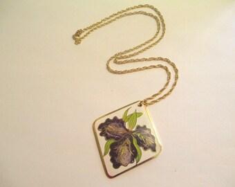Vintage 70's Floral Enamel Pendant DEADSTOCK