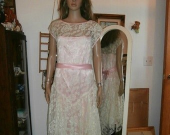 Womens   Lace Dress ~Pink Lace along with Pink Satin Bow - Short Sleeves- Womens Vintage Formal Dress