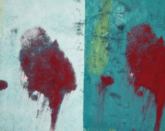 Abstract Original Art Mixed Media Monoprint : HotSpot