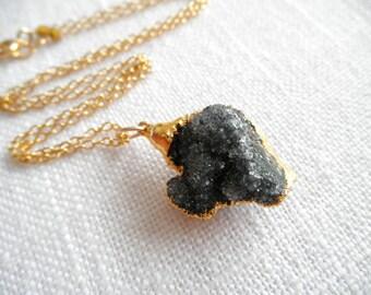 Natural Black Druzy necklace - gold necklace - black necklace - black drusy - D R U Z Y 272
