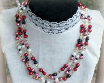 Multi Strand Necklace - Triple Strand Glass Pearl Necklace - Red Black Pink Champagne Glass Pearls - Statement Necklace - Handmade Jewelry