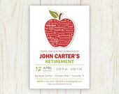 Apple Teacher Retirement Invitation - 5x7 digital file - Retirement Invitation - words in apple