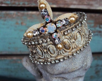 Antique Style Jeweled Crown Shabby Chic for Statue Santos Ornament Distressed Metal with Clear Rhinestones