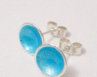 Turquoise Blue Enamel Stud Earrings, Aqua Blue, Sea Blue Enamel Silver Dome Post Earrings, Summer Holiday Beach Jewelry, Everyday Earrings