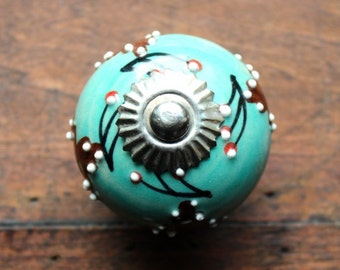 Drawer Knob / Cabinet Pull Ceramic Ball in Aqua with Leaves and Branches Silver Hardware (CK51)