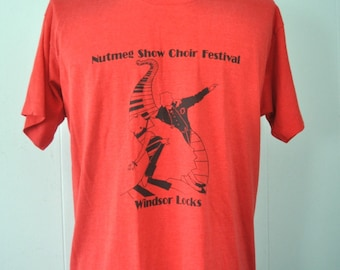 Vintage Show Choir Tee Drama Club theatre Windsor Locks CT hartford TShirt Red Black XL